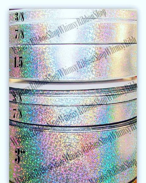 "3/8 7/8 1.5 3 "" Silver LASER FOIL White or Black Grosgrain Ribbon"