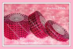 7/8 Fuchsia Pink RHINESTONE MESH