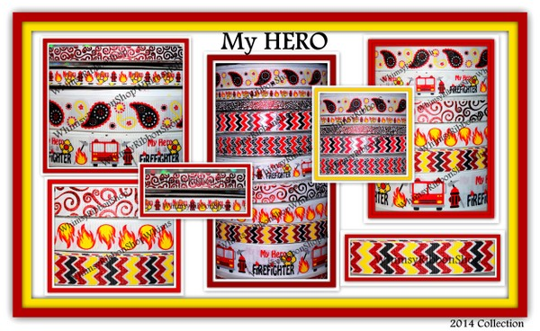 3/8, 7/8, 1.5 My HERO is a Firefighter chevron flames Grosgrain Ribbon