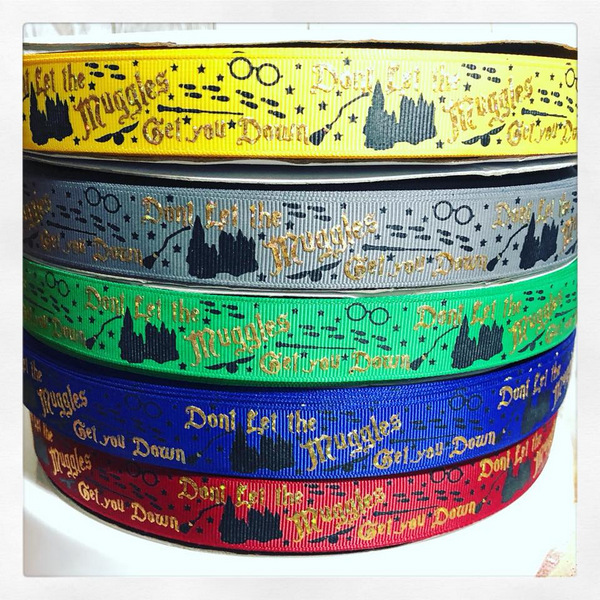 "7/8 "" Solid colors HP movie inspired gold foil Muggles map footprints glasses stars wands broom stick flying owl bird"