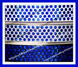 7/8 Blue Laser FOIL DOTS on White Black Grey Grosgrain Ribbon
