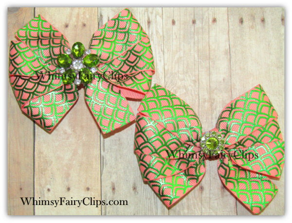 "2 1/2 - 4 1/2 "" inch Baby Toddler or Girls Mermaid Fish SCALES ribbon Hair BOWS on LT CORAL Ribbon"