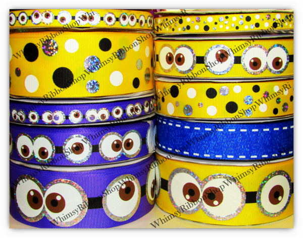 3/8 7/8 1.5 Minion inspired EYES and DOTS w/ Silver Laser Foil on Grosgrain Ribbon