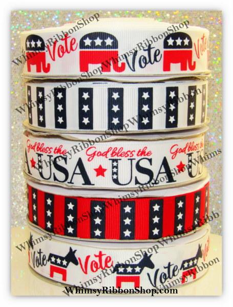 7/8 God Bless AMERICA Voting Vote Democrat Republican Grosgrain Printed ribbon Stars and Stripes