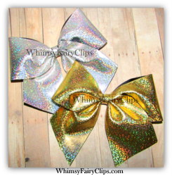 "5 - 8"" CHEER BOWS Silver Laser Foil Sports Team with 3"" ribbon"