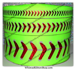 "7/8, 1.5 or 3"" SOFTBALL w/ Red Laser Foil on Neon YELLOW Grosgrain Ribbon"