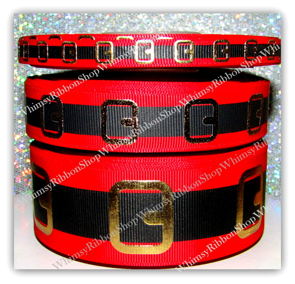 "3/8, 7/8, 1.5 or 3"" SANTA BELT on Red Grosgrain Ribbon"