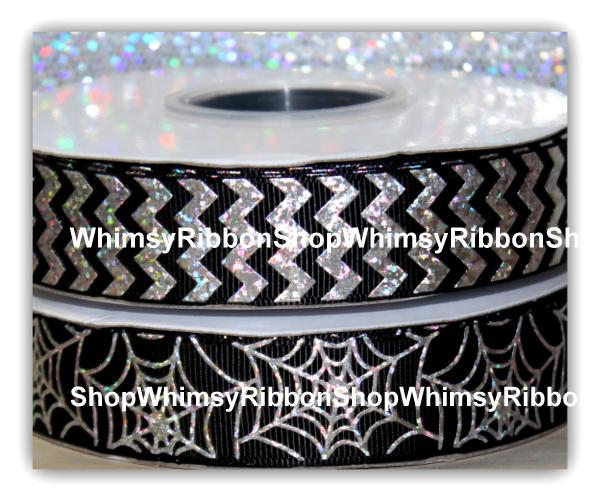 7/8 Halloween SPIDER WEBS or CHEVRON w/ SILVER LASER FOIL on Grosgrain Ribbon