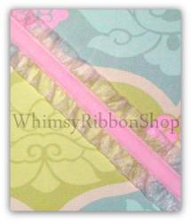 6/8 Light PINK Ruffle ELASTIC w/ Velvet center Ribbon