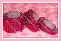 3/8 FUCHSIA Pink Rhinestone Mesh