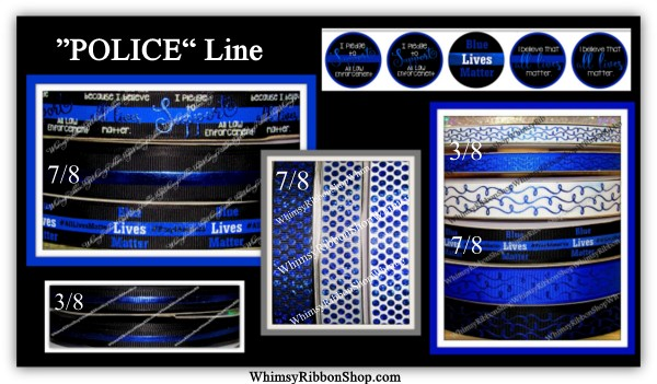 3/8, 7/8 POLICE Support Blue Lives Matter w/ Blue Foil Swirls Glitter on Grosgrain Ribbon